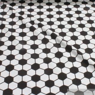 Kinderstoff Baumwolle Lycra Single Jersey Fußball klassisch weiß schwarz
