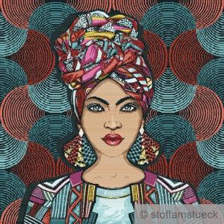 Stoff Kissen Panel Polyester Baumwolle Gobelin blau Afrikanische Schönheit