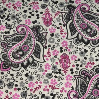 Stoff Baumwolle Paisley ecru grau pink Mille Fleurs Baumwollstoff