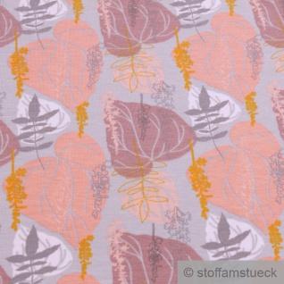 Stoff Baumwolle Elastan Single Jersey hellgrau Blatt Blätter - Vorschau 2