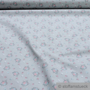 Stoff Baumwolle Popeline hellgrau Blümchen grau Mille Fleurs Baumwollstoff