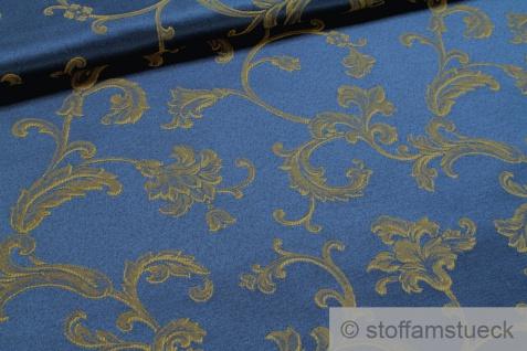 Stoff Baumwolle Polyester Jacquard marine Ranke gold 280 cm breit