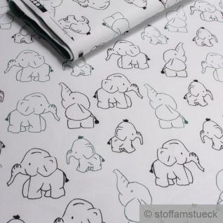 Stoff Kinderstoff Polyester Elastan Soft Shell weiß Elefant atmungsaktiv Jacke