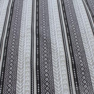 0, 5 Meter Stoff Baumwolle Elastan Single Jersey Muster Streifen beige schwarz - Vorschau 3