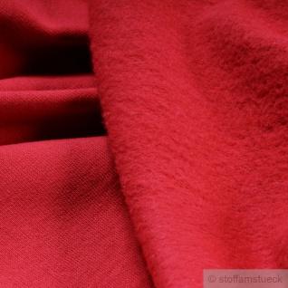 0, 5 Meter Stoff Baumwolle Single Jersey rot angeraut Sweatshirt weich dehnbar - Vorschau 2