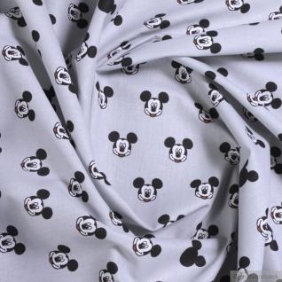 Stoff Baumwolle hellgrau Mickey Mouse Micky Mouse Micky Maus Walt Disney