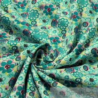 2 Meter Stoff Baumwolle Popeline weiß Prilblume türkis Baumwollstoff Blume
