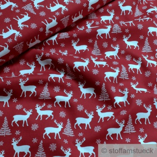 Stoff Weihnachtsstoff Baumwolle rot Elch Baumwollstoff Elche