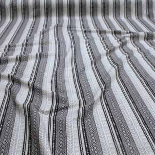 0, 5 Meter Stoff Baumwolle Elastan Single Jersey Muster Streifen beige schwarz