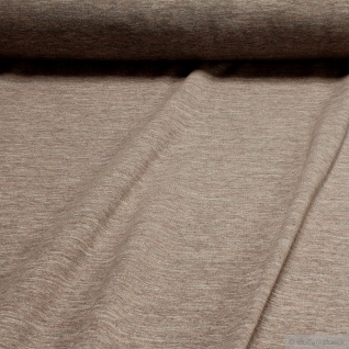 0, 5 Meter Baumwolle Polyester Elastan Single Jersey beige angeraut Winter-Sweat