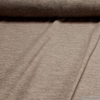 0, 5 Meter Stoff Baumwolle Polyester Elastan Single Jersey beige angeraut Winter-Sweat