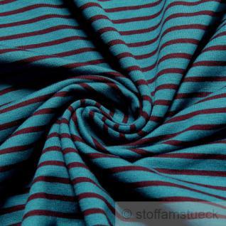 Stoff Baumwolle Lycra Single Jersey Streifen petrol aubergine Öko - Tex Standard