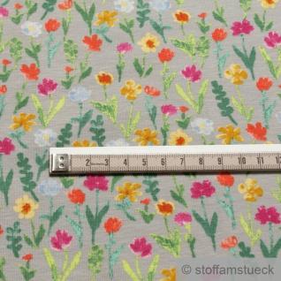 Stoff Baumwolle Elastan Single Jersey hellgrau Blume Blumen - Vorschau 3