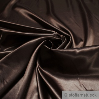 Stoff Polyester Satin dunkelbraun leicht blickdicht glänzend glatt schokobraun