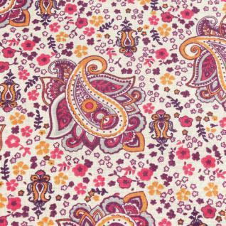 Stoff Baumwolle Paisley ecru orange pink Mille Fleurs Baumwollstoff