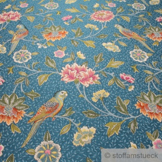 Stoff Polyester Gobelin blau Papagei Blume blickdicht