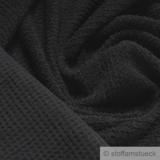 Stoff Baumwolle Frottee Waffelpiqué schwarz Waffelpikee Waffelpique