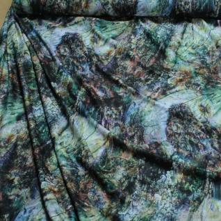 Stoff Polyester Elastan Interlock Jersey Fantasy grün braun bunt Fantasie