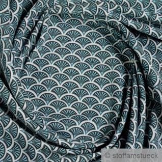 0, 5 Meter Stoff Baumwolle Elastan Single Jersey Fächer türkis weiß dehnbar weich