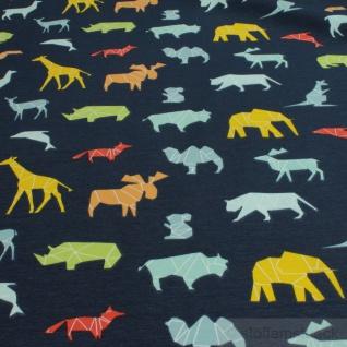 0, 5 Meter Stoff Baumwolle Elastan Single Jersey dunkelblau wilde Tiere Giraffe - Vorschau 3