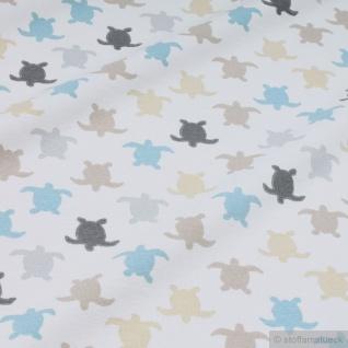 Stoff Kinderstoff Baumwolle Elastan Single Jersey ecru Schildkröte Oeko-Tex 100 - Vorschau 2
