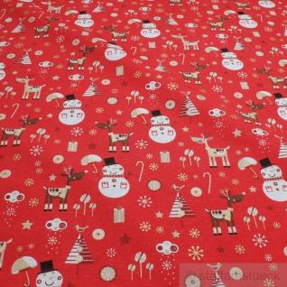 Stoff Weihnachtsstoff Baumwolle Polyester Rips rot Schneemann Rentier Tannenbaum