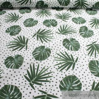 Stoff Baumwolle Polyester weiß Palme Philodendron Blatt Blätter Dschungel