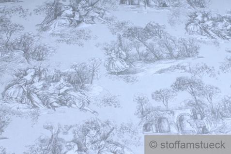 Stoff Baumwolle Rips Toile de Jouy Dorf hellgrau anthrazit breit 280 cm - Vorschau 2