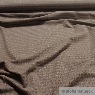 0, 5 Meter Stoff Baumwolle Elastan Single Jersey braun Raute grau Glitzer Glitter