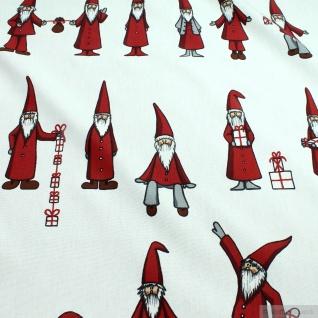 Weihnachtsstoff Stoff Baumwolle Rips weiß Weihnachtsmann Weihnachtmänner