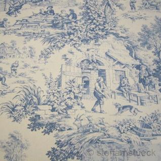 Stoff Baumwolle Rips Toile de Jouy Dorf beige blau Dorfcharakter - Vorschau 1