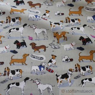 Stoff Baumwolle grau Hunde Hundeschule Welpen Baumwollstoff