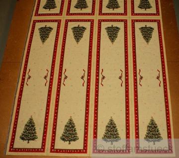 Stoff Weihnachtsstoff Baumwolle Polyester Gobelin Tannenbaum Tischläufer