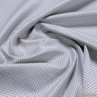 Stoff Polyester Baumwolle Jacquard Raute klein hellgrau weiß breit 276 cm