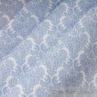 Stoff Polyester Baumwolle weiß Ornament hellblau feingezeichnet