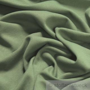 0, 5 Meter Stoff Baumwolle Interlock Jersey schilfgrün T-Shirt weich dehnbar - Vorschau 2
