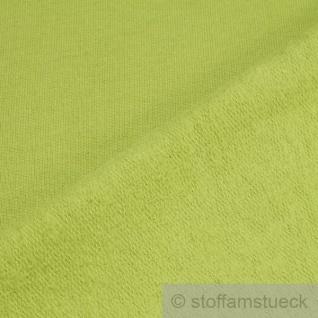 0, 5 Meter Stoff Baumwolle Single Jersey kiwi angeraut Sweatshirt weich hellgrün - Vorschau 3