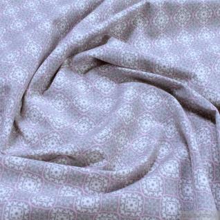0, 5 Meter Stoff Baumwolle Elastan Single Jersey Ornament beige rosa
