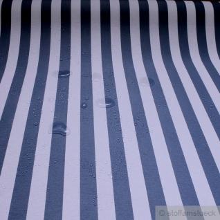 Stoff Baumwolle Acryl Blockstreifen blau weiß wasserabweisend Öko-Tex