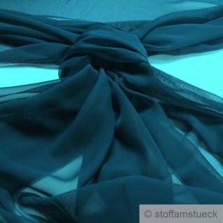 Stoff Polyester Chiffon petrol transparent leicht weich fallend