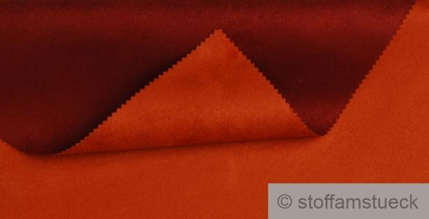 Stoff Polyester Kunstleder Wildleder double face orange ziegelrot 30.000 Martindale