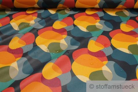 Stoff Baumwolle Acryl bunt Kreis Retro wasserabweisend beschichtet - Vorschau 1