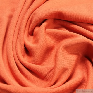 0, 5 Meter Stoff Baumwolle Interlock Jersey mango T-Shirt weich dehnbar orange
