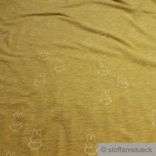 0, 5 Meter Kinderstoff Baumwolle Single Jersey ocker Kaninchen Miffy Nijntje