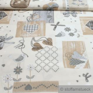 Stoff Baumwolle Polyester ecru Patchwork Herz grau fleckabweisend pflegeleicht