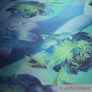 Stoff Polyester Kleidertaft blau Orchidee grün Taft bedruckt blickdicht - Vorschau 2