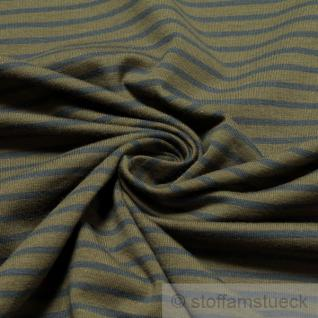 Stoff Baumwolle Lycra Single Jersey Streifen oliv blau Öko - Tex Standard 100