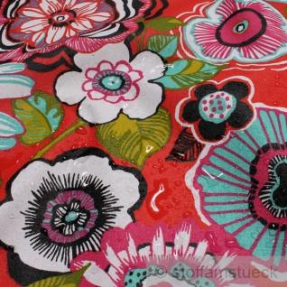 Stoff Baumwolle Acryl rot Blume Retro Regenjacke beschichtet