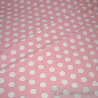 Stoff Baumwolle Punkte groß rosa weiß Tupfen Dots Baumwollstoff