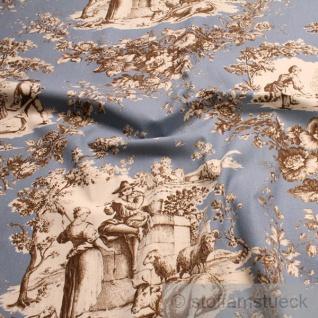 Stoff Baumwolle Rips Toile de Jouy Rosen himmelblau braun ländlich 280 cm breit